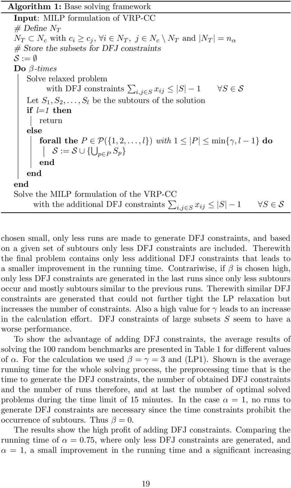 .., l}) with 1 P min{γ, l 1} do S := S { p P S p} end end end Solve the MILP formulation of the VRP-CC with the additional DFJ constraints i,j S x ij S 1 S S chosen small, only less runs are made to