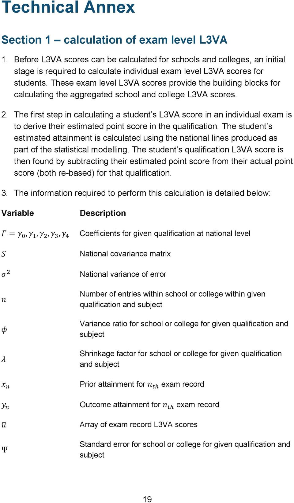 These exam level L3VA scores provide the building blocks for calculating the aggregated school and college L3VA scores. 2.