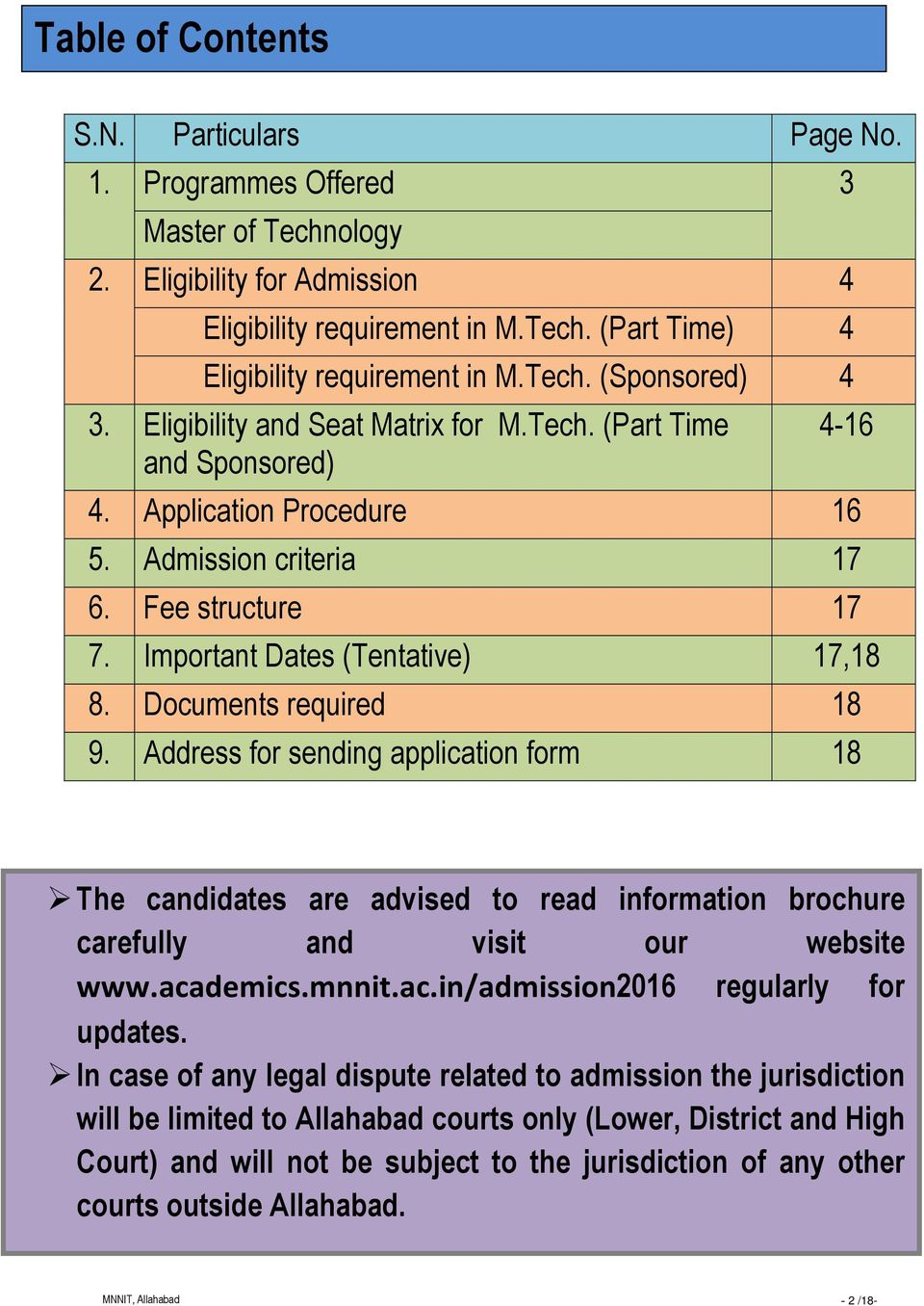 Important Dates (Tentative) 17,18 8. Documents required 18 9. Address for sending application form 18 The candidates are advised to read information brochure carefully and visit our website www.