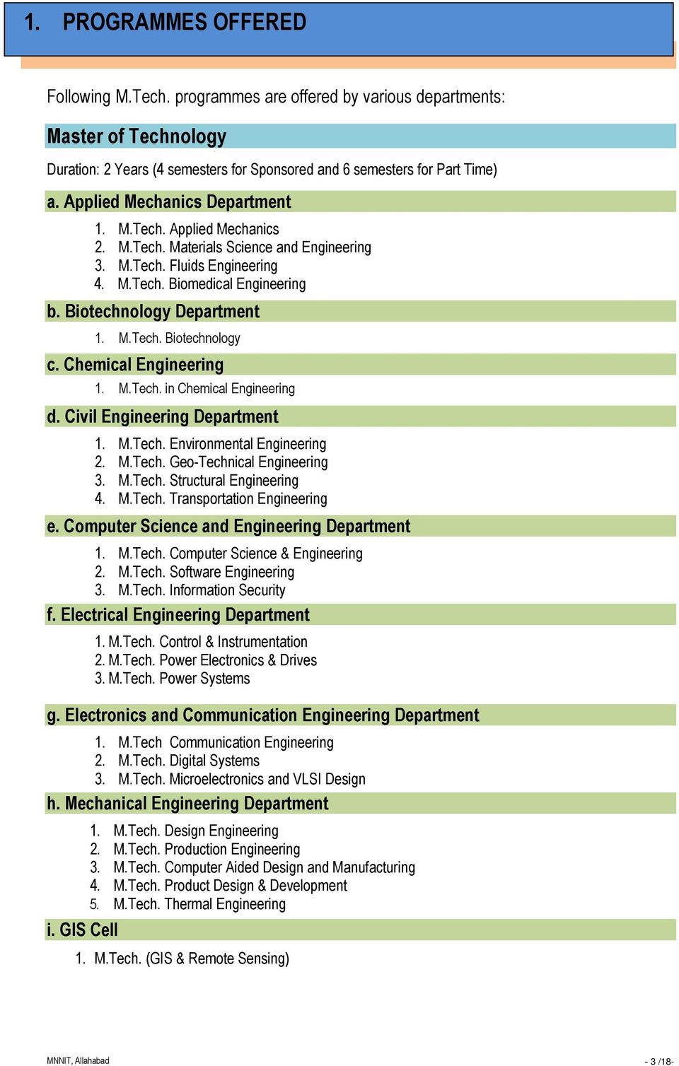 M.Tech. in Chemical d. Civil Department 1. M.Tech. Environmental 2. M.Tech. Geo-Technical 3. M.Tech. Structural 4. M.Tech. Transportation e. Computer Science and Department 1. M.Tech. Computer Science & 2.