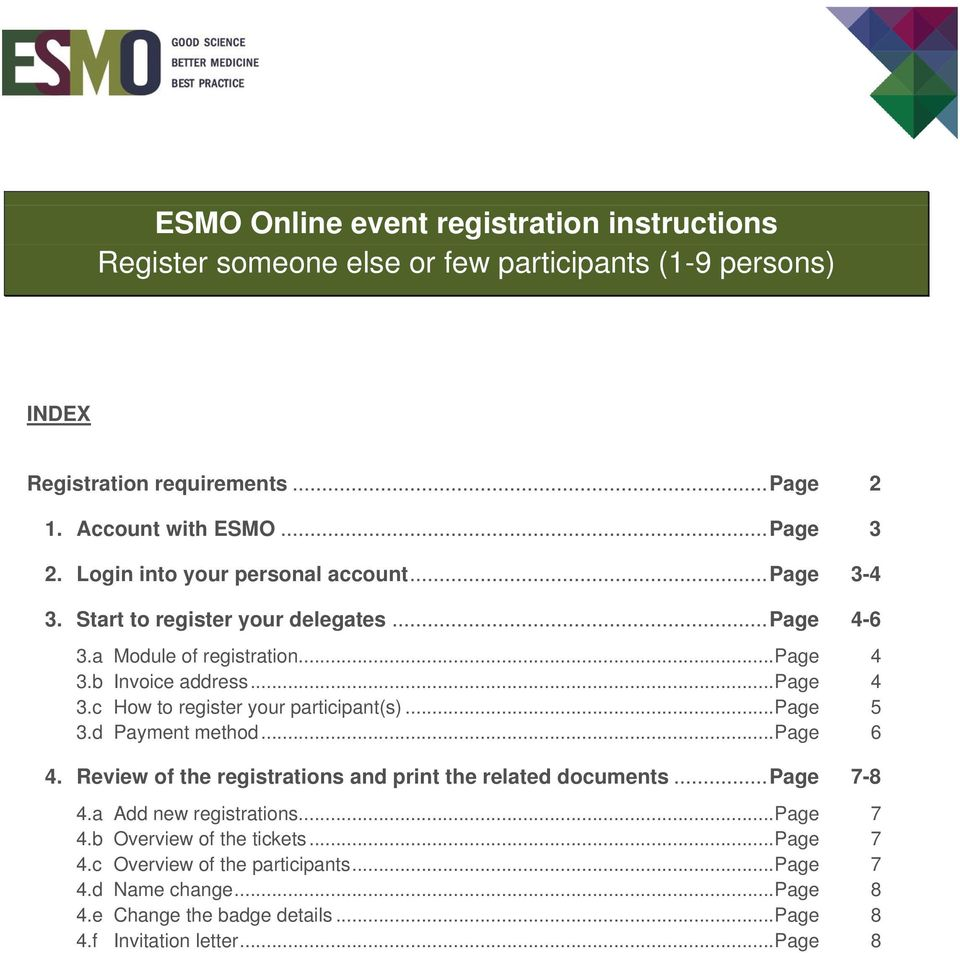 .. Page 5 3.d Payment method... Page 6 4. Review of the registrations and print the related documents... Page 7-8 4.a Add new registrations... Page 7 4.