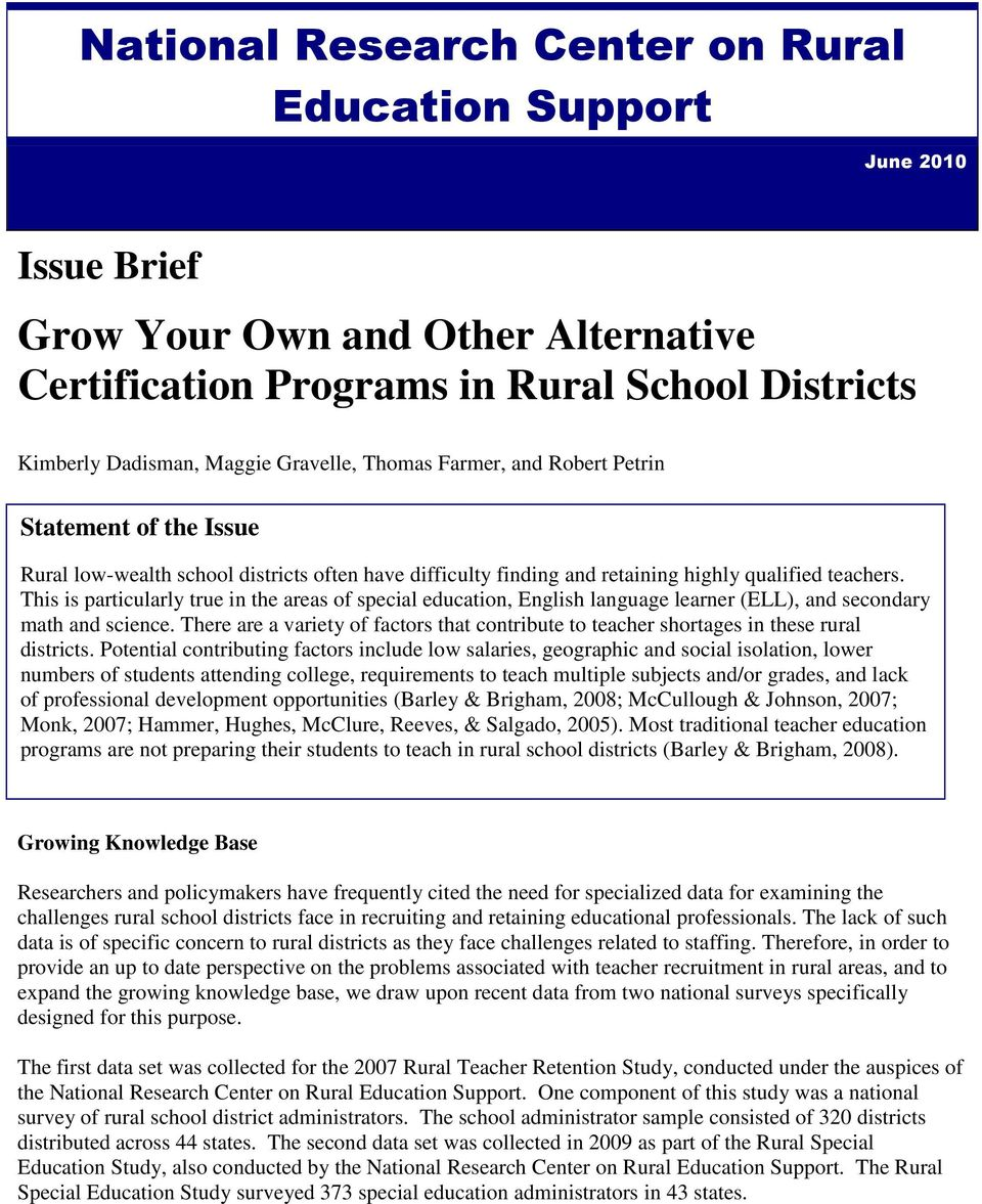 National Research Center On Rural Education Support Grow Your Own