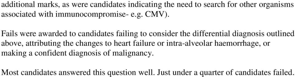 Fails were awarded to candidates failing to consider the differential diagnosis outlined above, attributing