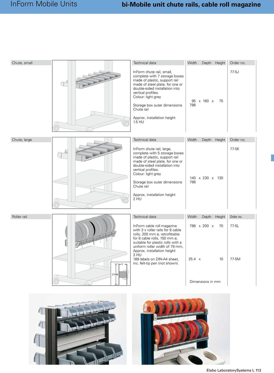 5 HU 95 x 160 x 75 786 77-5J Chute, large InForm chute rail, large, complete with 5 storage boxes made of plastic, support rail made of steel plate, for one or double-sided installation into vertical