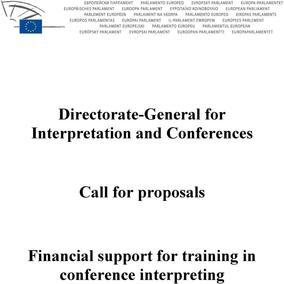 Call for proposals Financial