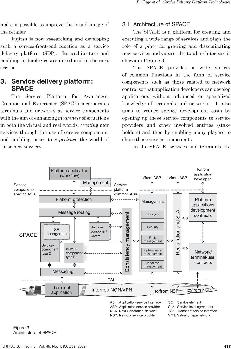 Service delivery platform: SPACE The Service Platform for Awareness, Creation and Experience (SPACE) incorporates terminals and networks as service components with the aim of enhancing awareness of
