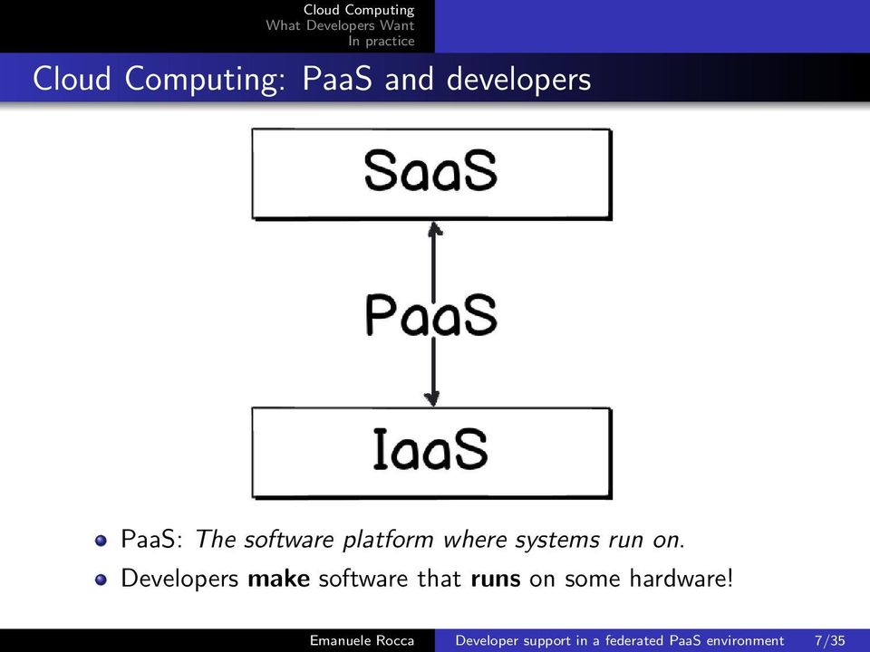 Developers make software that runs on some hardware!