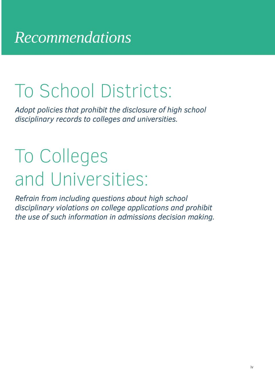 To Colleges and Universities: Refrain from including questions about high school