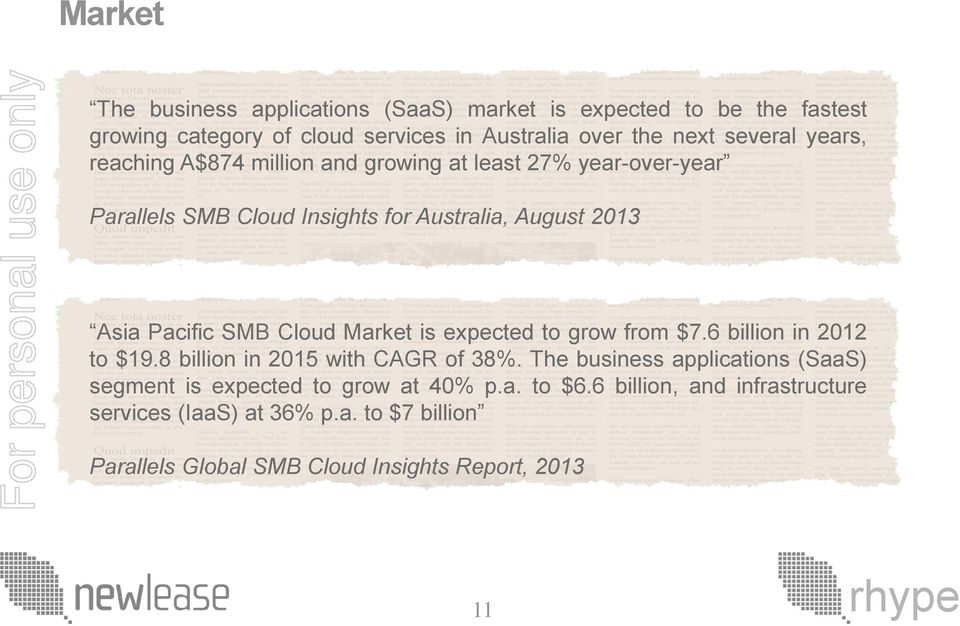 Market is expected to grow from $7.6 billion in 2012 to $19.8 billion in 2015 with CAGR of 38%.