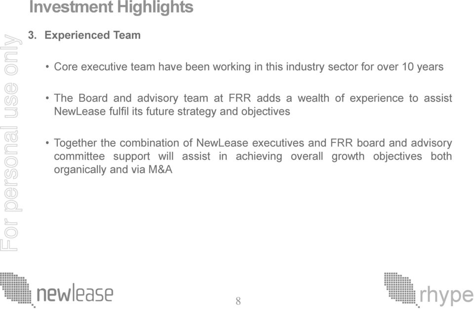 Board and advisory team at FRR adds a wealth of experience to assist NewLease fulfil its future strategy