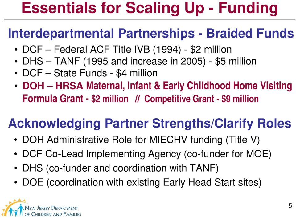 million // Competitive Grant - $9 million Acknowledging Partner Strengths/Clarify Roles DOH Administrative Role for MIECHV funding (Title V) DCF