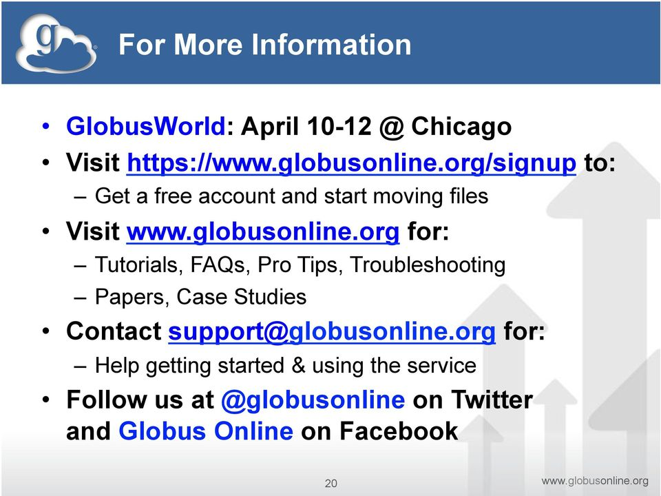 Troubleshooting Papers, Case Studies Contact support@globusonline.