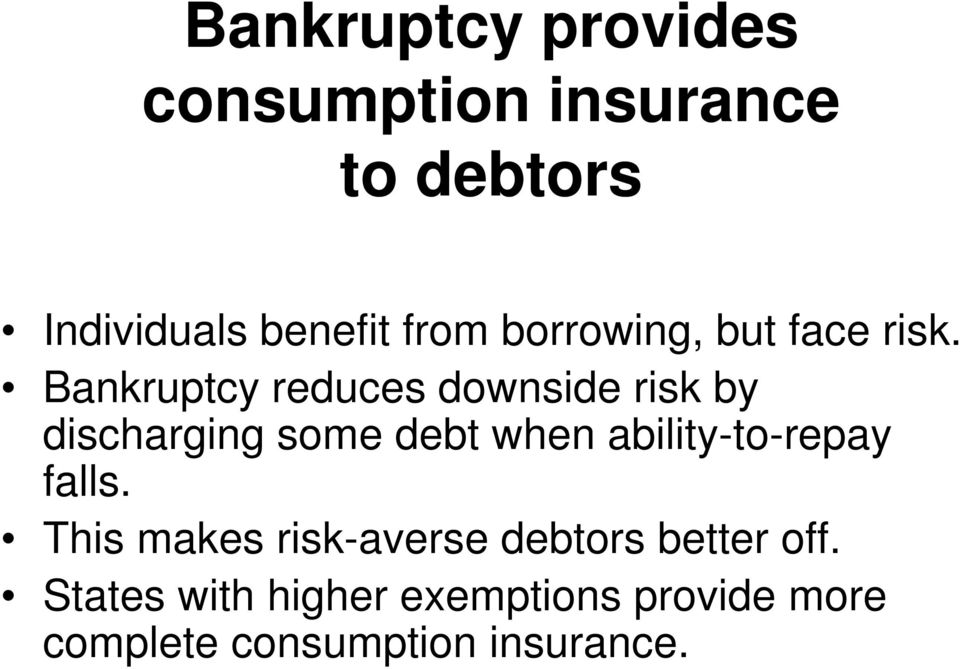 Bankruptcy reduces downside risk by discharging some debt when
