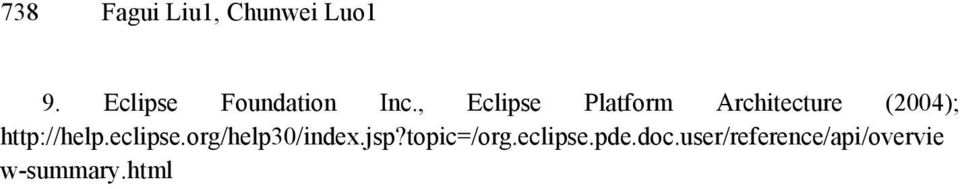 , Eclipse Platform Architecture (2004);