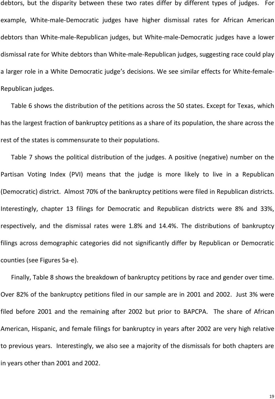 White debtors than White-male-Republican judges, suggesting race could play a larger role in a White Democratic judge s decisions. We see similar effects for White-female- Republican judges.