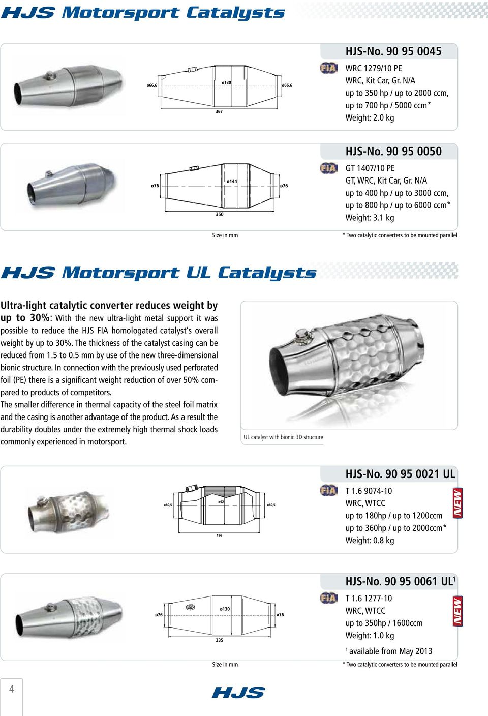 1 kg Size in mm * Two catalytic converters to be mounted parallel Motorsport UL Catalysts Ultra-light catalytic converter reduces weight by up to 30%: With the new ultra-light metal support it was
