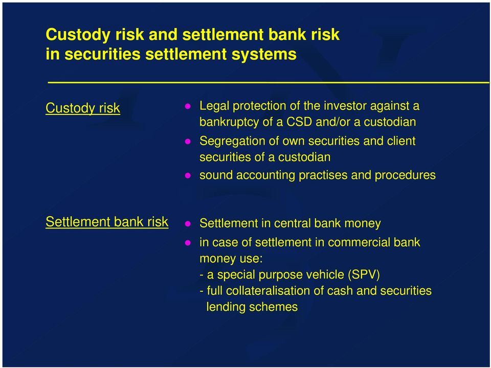 sound accounting practises and procedures Settlement bank risk Settlement in central bank money in case of settlement