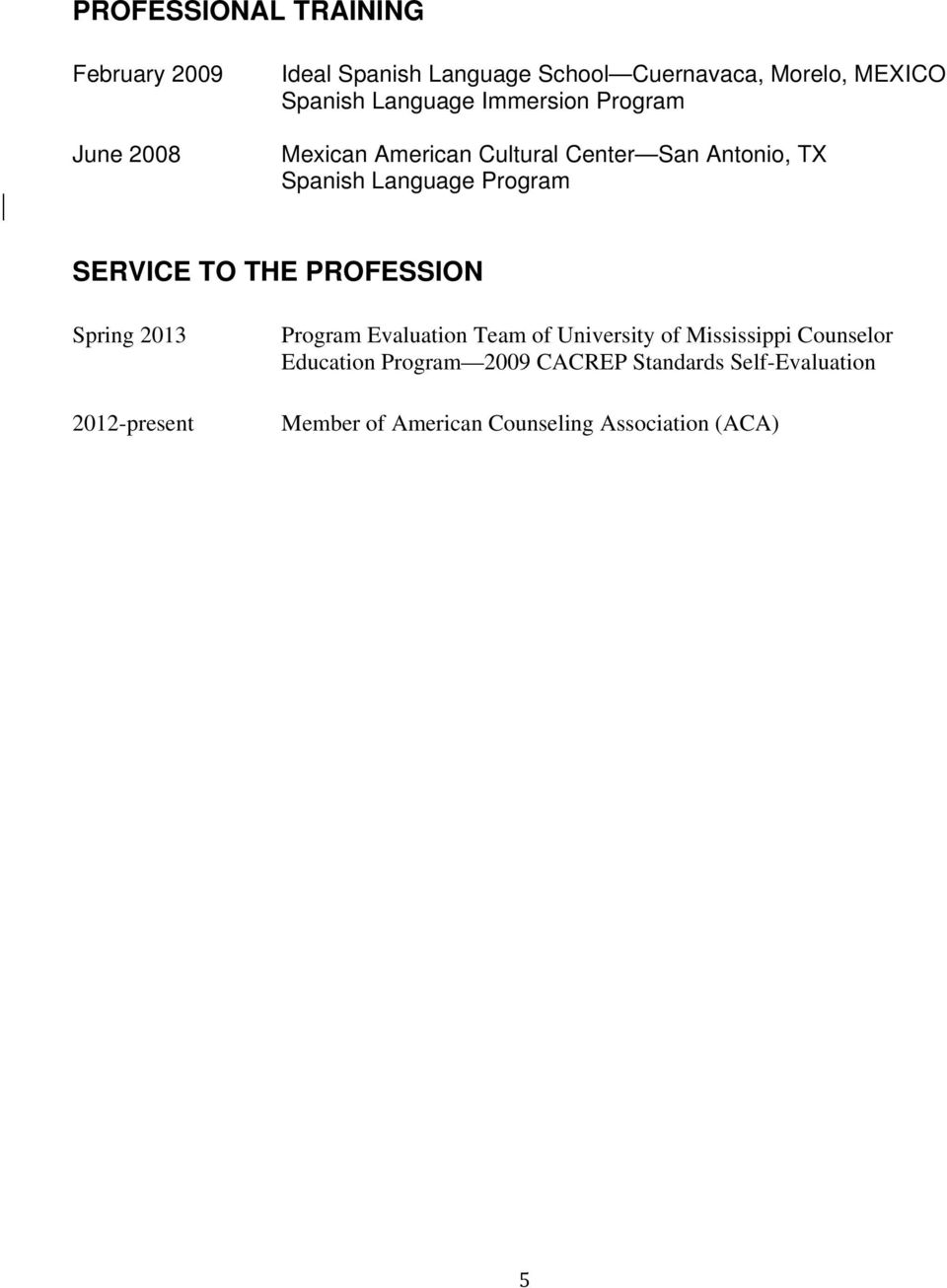 Program SERVICE TO THE PROFESSION Spring 2013 2012-present Program Evaluation Team of University of