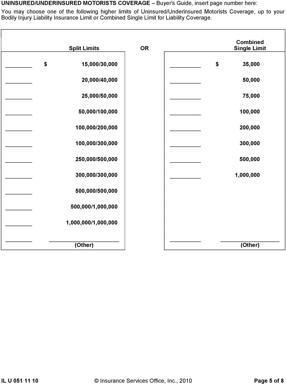 Split Limits OR Combined Single Limit $ 15,000/30,000 $ 35,000 20,000/40,000 50,000 25,000/50,000 75,000 50,000/100,000 100,000 100,000/200,000 200,000