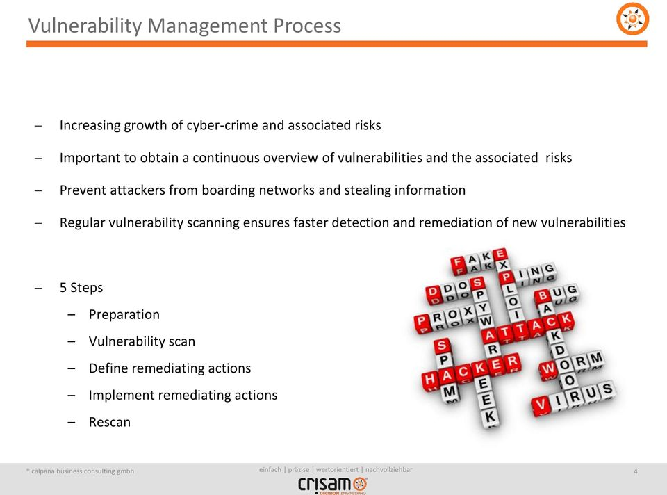 stealing information Regular vulnerability scanning ensures faster detection and remediation of new