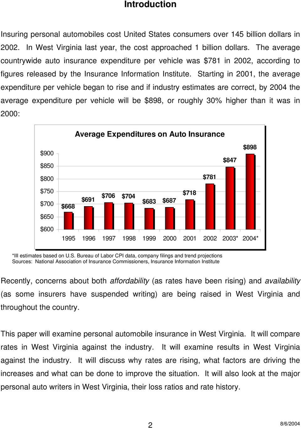 Starting in 2001, the average expenditure per vehicle began to rise and if industry estimates are correct, by 2004 the average expenditure per vehicle will be $898, or roughly 30% higher than it was