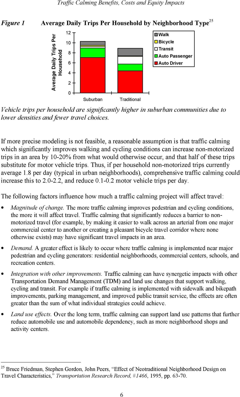 If more precise modeling is not feasible, a reasonable assumption is that traffic calming which significantly improves walking and cycling conditions can increase non-motorized trips in an area by