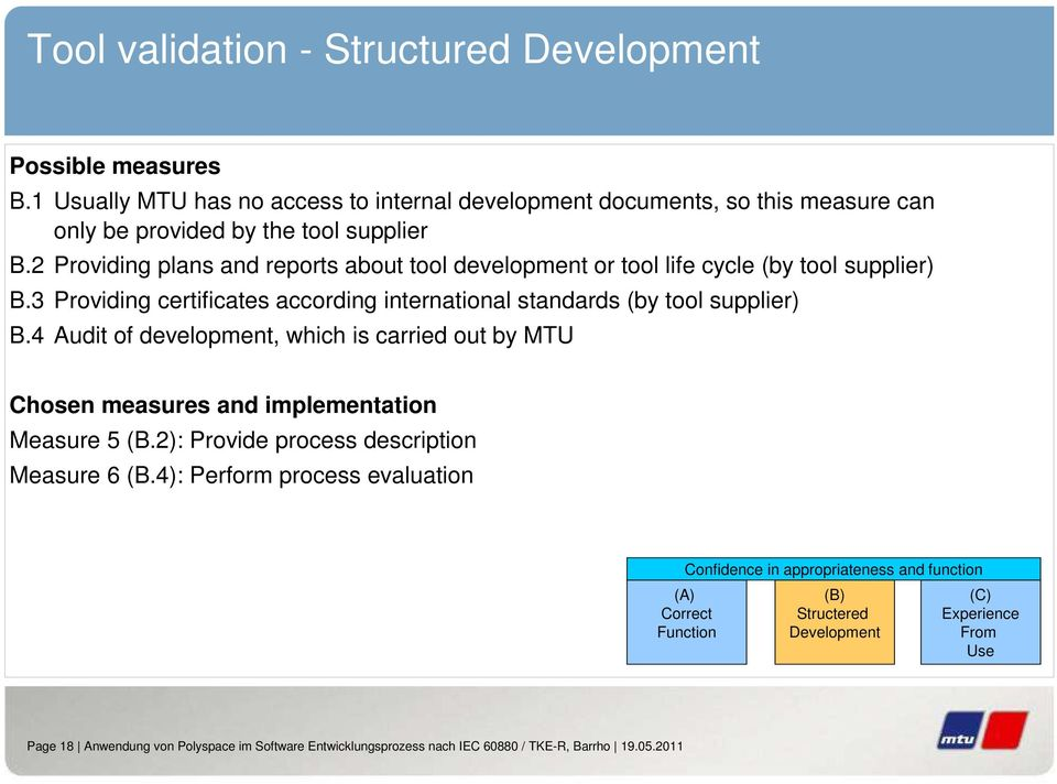 4 Audit of development, which is carried out by MTU Chosen measures and implementation Measure 5 (B.2): Provide process description Measure 6 (B.