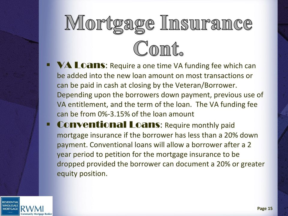 15% of the loan amount Conventional Loans: Require monthly paid mortgage insurance if the borrower has less than a 20% down payment.