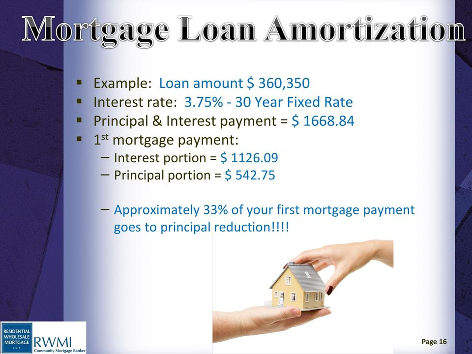 84 1 st mortgage payment: Interest portion = $ 1126.