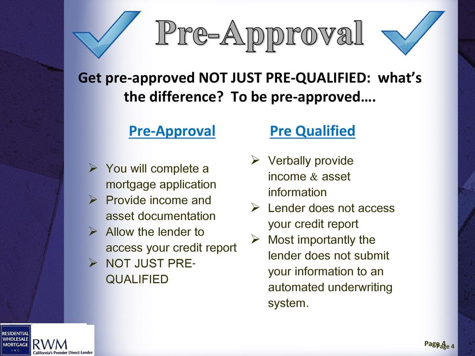 access your credit report NOT JUST PRE- QUALIFIED Pre Qualified Verbally provide income & asset information Lender