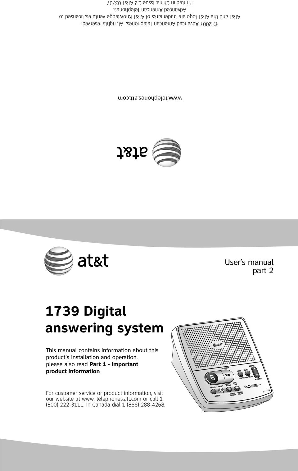 2 AT&T 03/07 User s manual part 2 1739 Digital answering system This manual contains information about this product's installation and