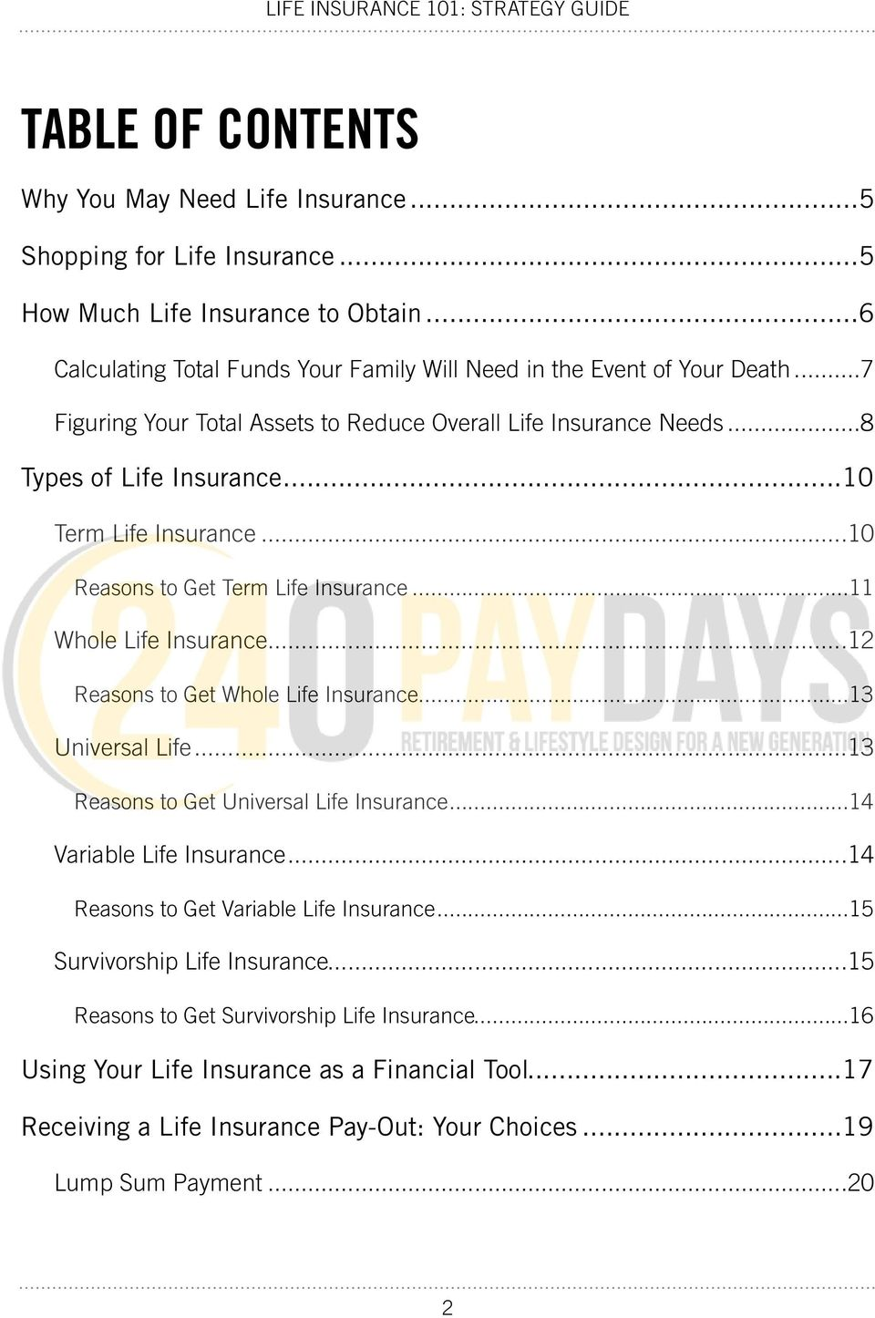 .. 10 Term Life Insurance... 10 Reasons to Get Term Life Insurance... 11 Whole Life Insurance... 12 Reasons to Get Whole Life Insurance... 13 Universal Life.