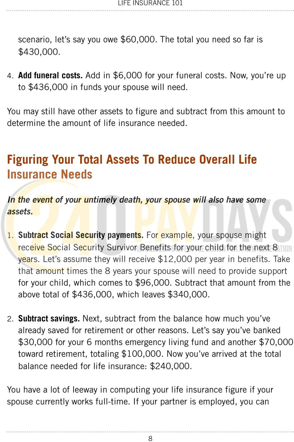 Figuring Your Total Assets To Reduce Overall Life Insurance Needs In the event of your untimely death, your spouse will also have some assets. 1. Subtract Social Security payments.