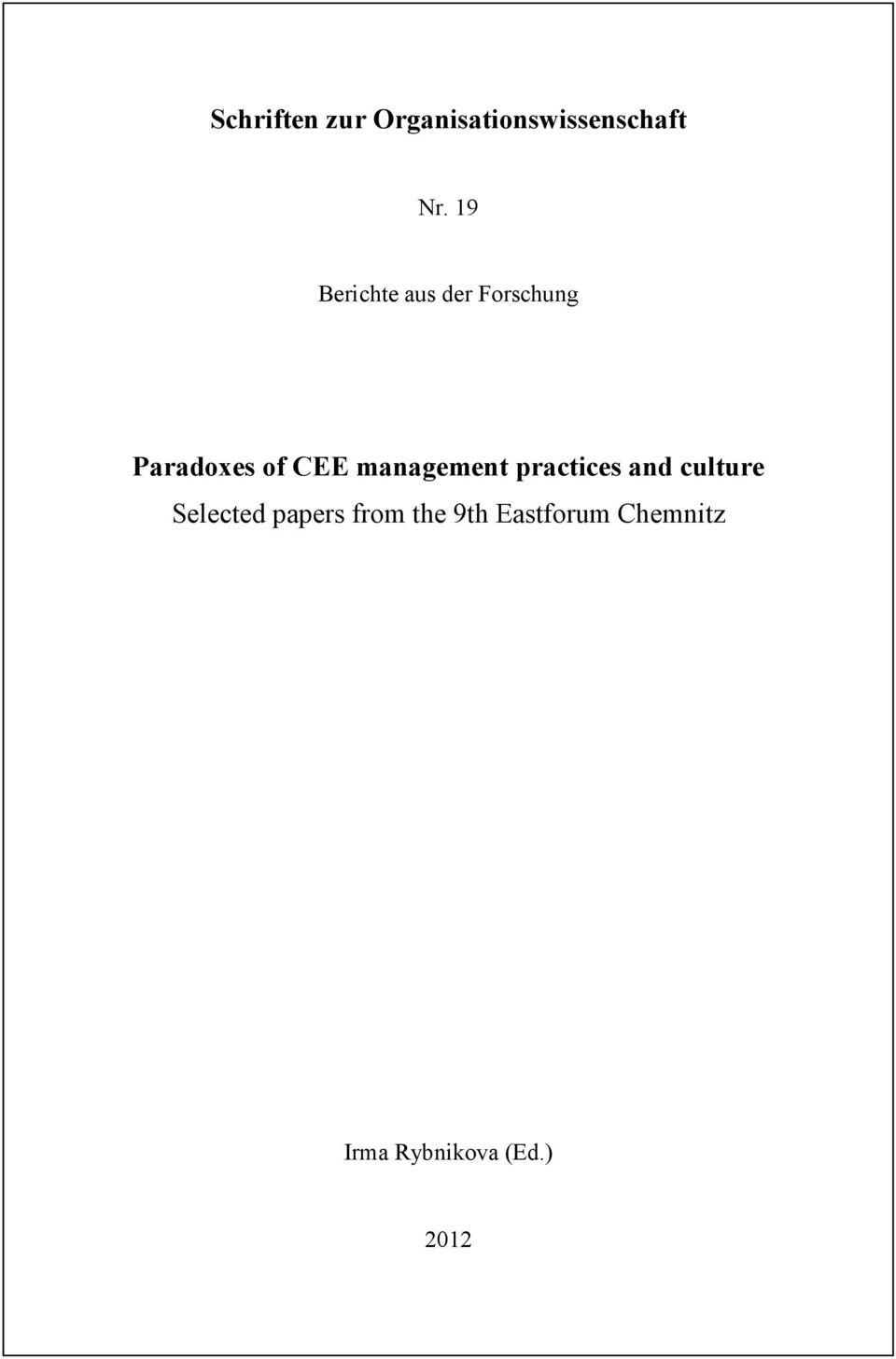 management practices and culture Selected papers
