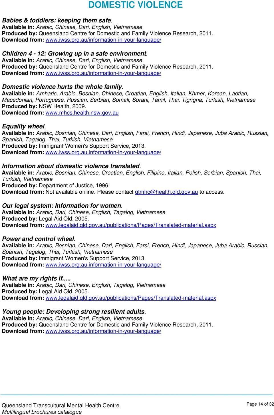 Available in: Arabic, Chinese, Dari, English, Produced by: Queensland Centre for Domestic and Family Violence Research, 2011. Download from: www.iwss.org.