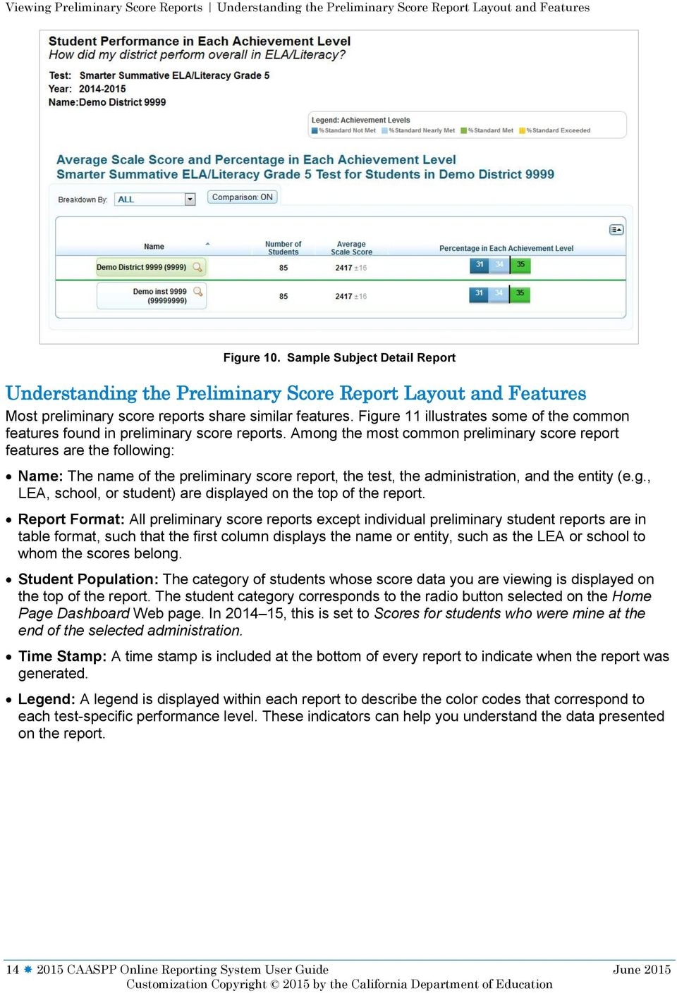 Figure 11 illustrates some of the common features found in preliminary score reports.
