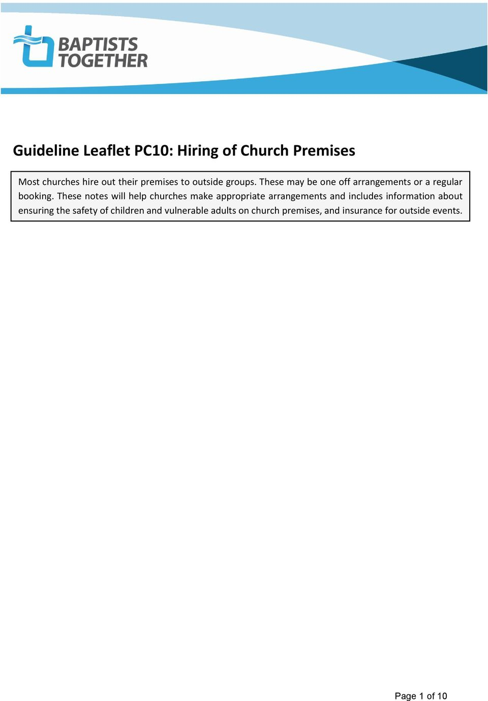 These notes will help churches make appropriate arrangements and includes information about
