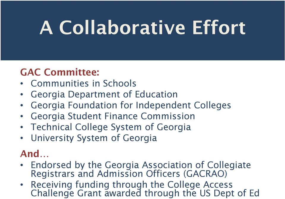 University System of Georgia And Endorsed by the Georgia Association of Collegiate Registrars and