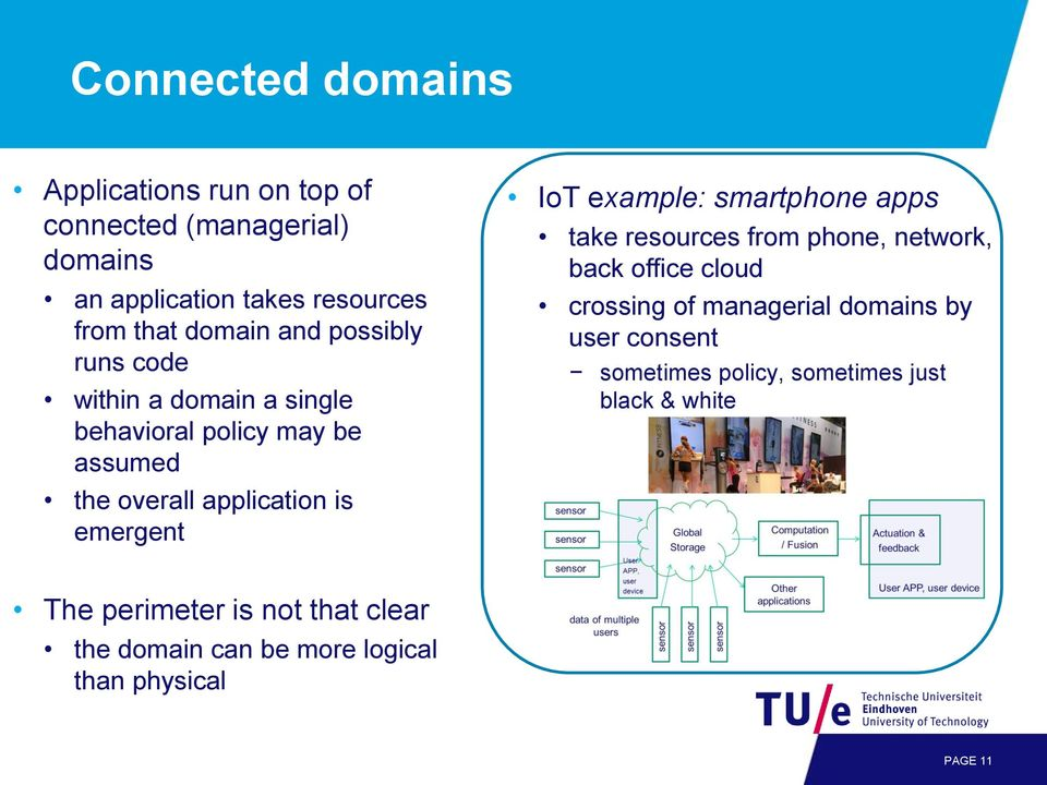 example: smartphone apps take resources from phone, network, back office cloud crossing of managerial domains by user consent