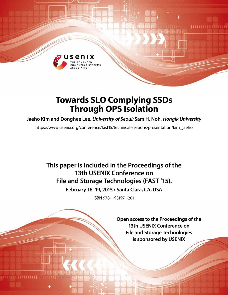 org/conference/fast5/technical-sessions/presentation/kim_jaeho This paper is included in the Proceedings of the 3th USENIX