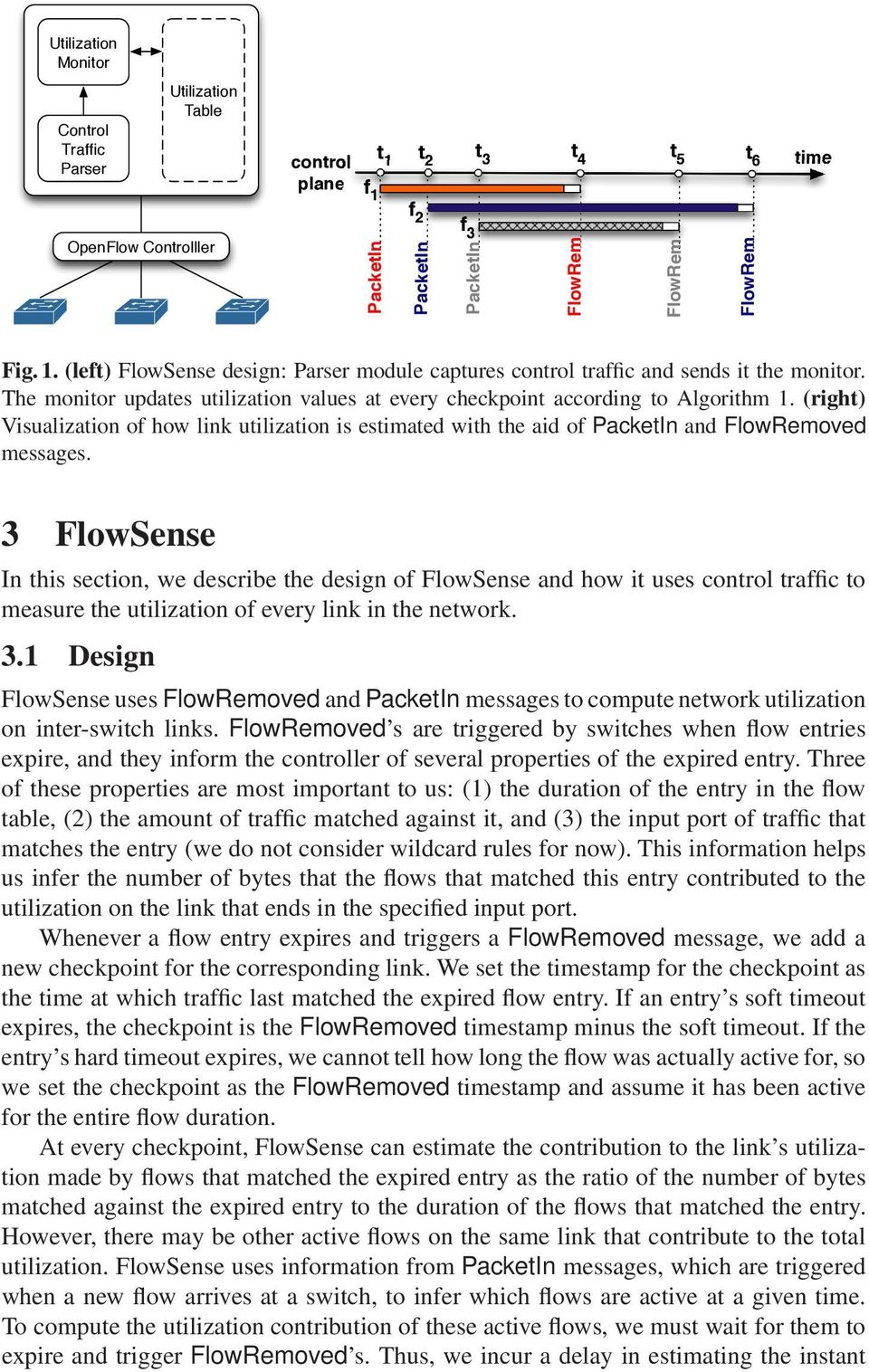 3 FlowSense In this section, we describe the design of FlowSense and how it uses control traffic to measure the utilization of every link in the network. 3.