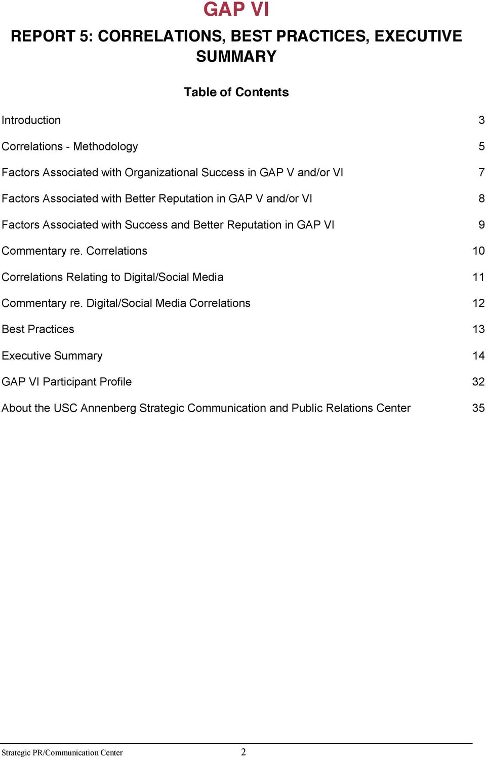 Reputation in GAP VI 9 Commentary re. Correlations 10 Correlations Relating to Digital/Social Media 11 Commentary re.