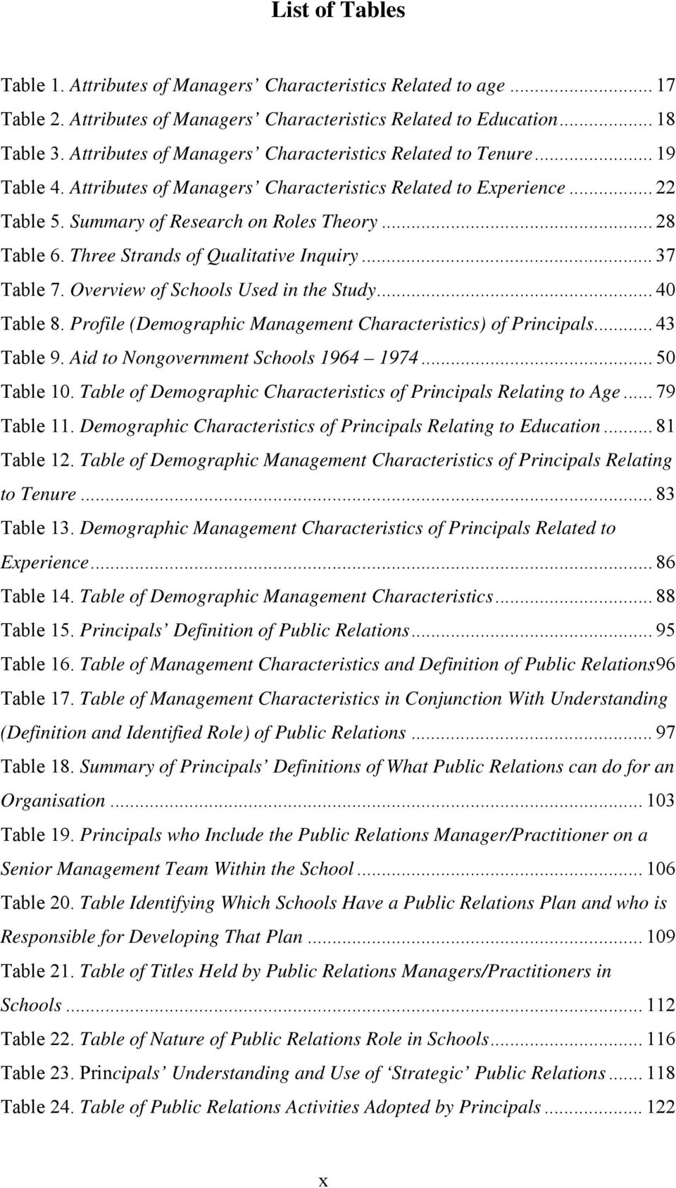 Three Strands of Qualitative Inquiry... 37 Table 7. Overview of Schools Used in the Study... 40 Table 8. Profile (Demographic Management Characteristics) of Principals... 43 Table 9.