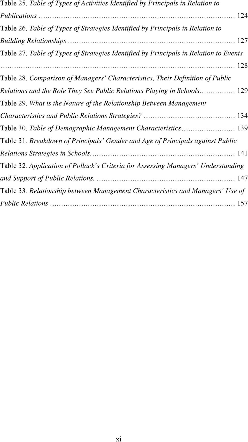 Comparison of Managers Characteristics, Their Definition of Public Relations and the Role They See Public Relations Playing in Schools.... 129 Table 29.