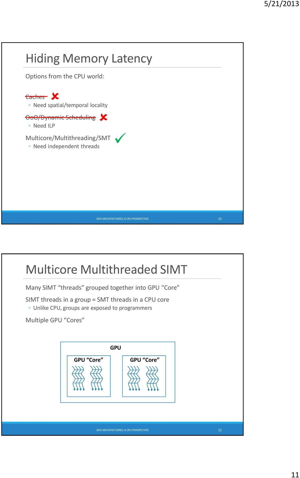 Multithreaded Many threads grouped together into GPU Core threads in a group SMT threads in a CPU core Unlike