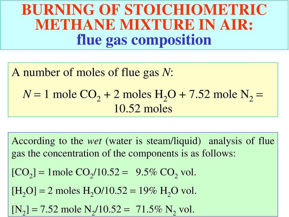 52 moles According to the wet (water is steam/liquid) analysis of flue gas the concentration of the
