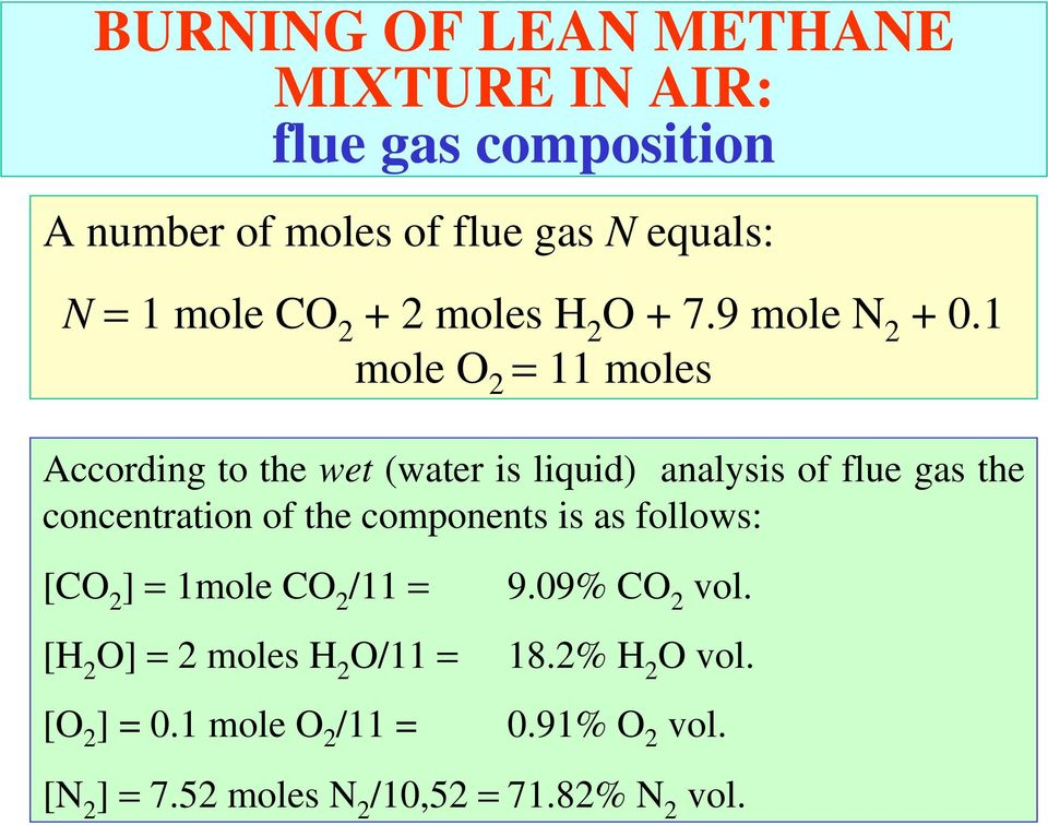1 mole O 2 = 11 moles According to the wet (water is liquid) analysis of flue gas the concentration of the