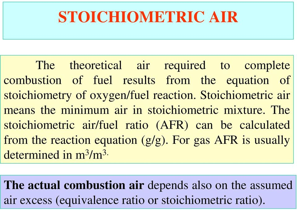 The stoichiometric air/fuel ratio (AFR) can be calculated from the reaction equation (g/g).
