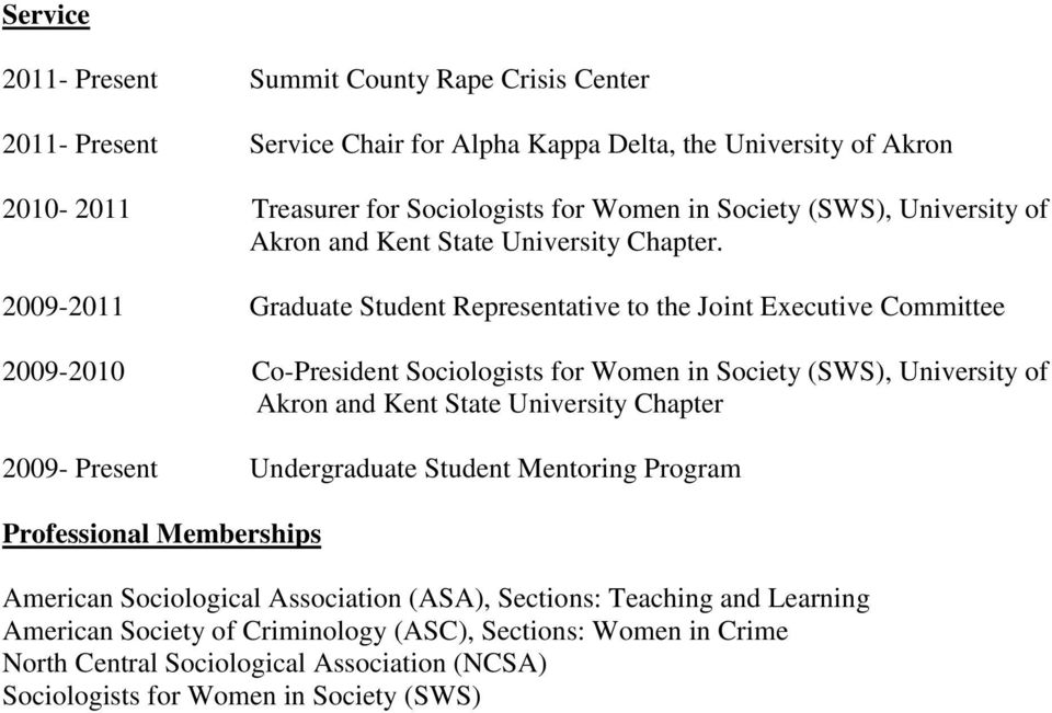 2009-2011 Graduate Student Representative to the Joint Executive Committee 2009-2010 Co-President Sociologists for Women in Society (SWS), University of Akron and Kent State University