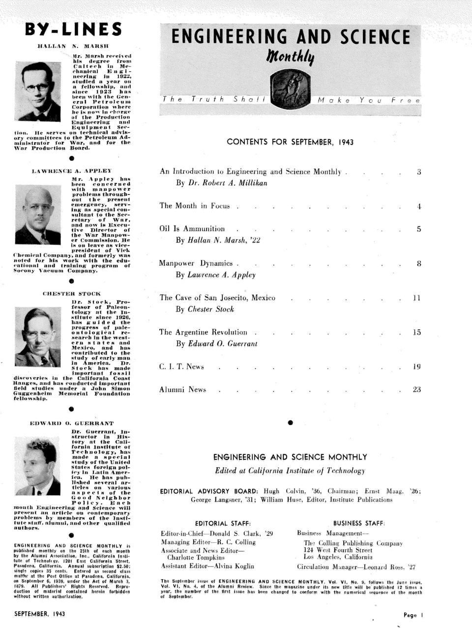 rhnrsr i~t the Produ~'tion Engineering ant1 Eyllipment Sefon te<*hniã ' advis- 3 the Petroleum Ad- War, and for the Board. CONTENTS FOR SEPTEMBER, 1943 l.4witka Cli; A. \PPJ,E1 Mr. \l~nle?